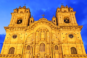 Low angle of facade of Church of Society of Jesus, Cuzco, Peru