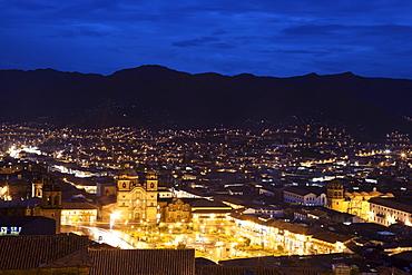 Cityscape at night, aerial view, Cuzco, Peru