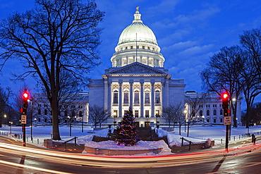 Illuminated State Capitol Building, Madison, Wisconsin