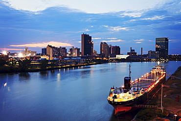 Cityscape at evening, Cleveland, Ohio
