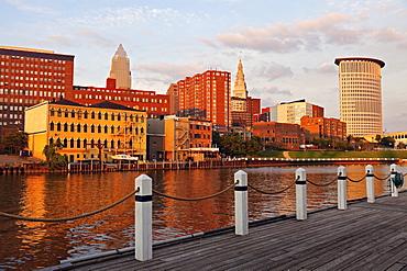 Cityscape at sunset, Cleveland, Ohio