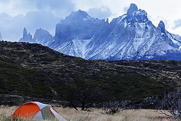 Camping in front of Cordillera del Paine, Chile