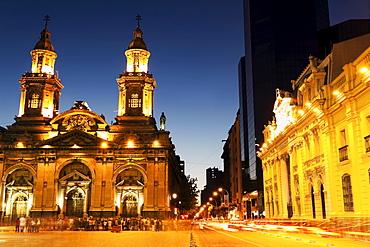Illuminated Plaza de Armas in capital city, Chile