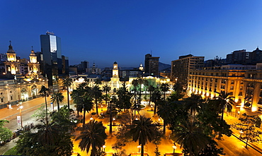 Cityscape with Plaza de Armas Mayor at night, Chile
