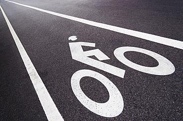 Sign on bike lane