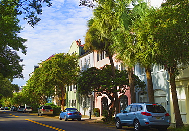 USA, South Carolina, Charleston, Rainbow Row, Bay Street, Houses in residential district