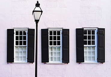 USA, South Carolina, Charleston, Detail of house with window shutters