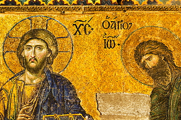 Turkey, Istanbul, Haghia Sophia Mosque, Mosaic of Christ Pantocrator with John the Baptist