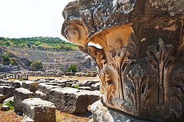 Turkey, Ephesus, Corinthian column in Roman amphitheatre