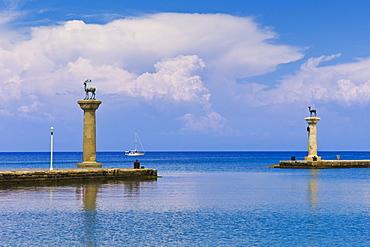 Greece, Rhodes, Deer statue in Mandraki Harbor