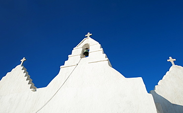 Greece, Cyclades Islands, Mykonos, Church bell tower