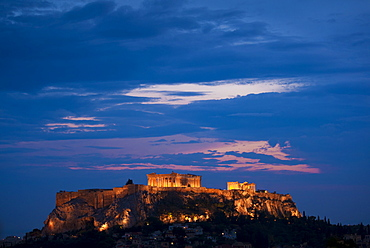 Greece, Athens, Acropolis illuminated at night