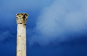 Greece, Athens, Corinthian column at Temple of Olympian Zeus
