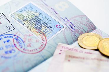 Passport with Turkish lira