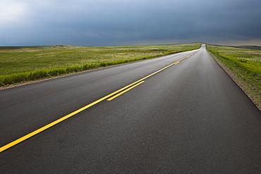 Highway crossing Badlands National Park