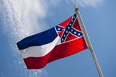 USA, Mississippi State flag against sky
