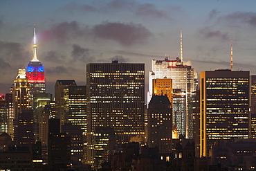 Skyline at dusk, USA, New York State, New York City