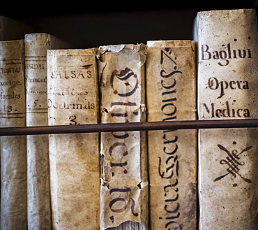 Spain, Mallorca, Monastery in Valldemossa, Books in library, Valldemossa, Mallorca, Spain