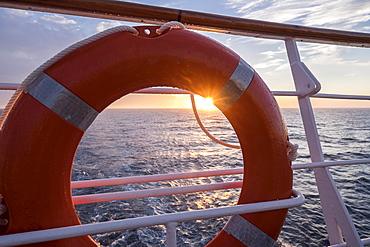 Close-up of lifebelt, Mediterranean Sea