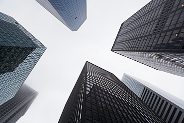 Facade of modern office buildings, USA, New York State, New York City