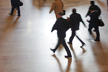 High angle view of people walking at Grand Central Station, USA, New York State, New York City