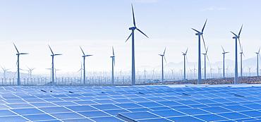 USA, California, Palm Springs, Wind farm and solar panels, USA, California, Palm Springs