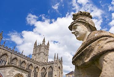 UK, Somerset, Bath, Statue of Ostorius Scapula at Roman Baths, UK, Somerset, Bath
