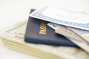 Close up passport and Social Security Card