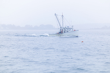 Lobster boat on sea, Portland, Maine
