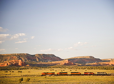 Train passing through New Mexico USA