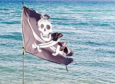 Tattered pirate flag