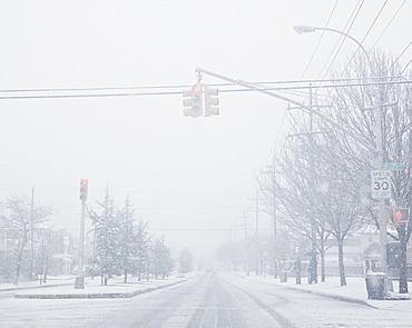 USA, New York State, Rockaway Beach, street during blizzard