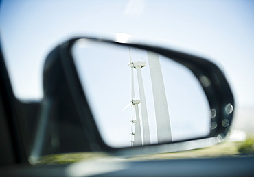 USA , California, Palm Springs, Coachella Valley, San Gorgonio Pass, Wind turbine reflecting in rear- view mirror
