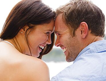 Roaring Brook Lake, Close up happy couple