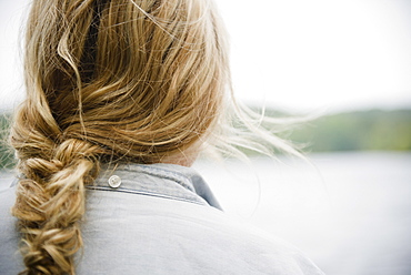 Roaring Brook Lake, Close up of woman's blond and braided hair
