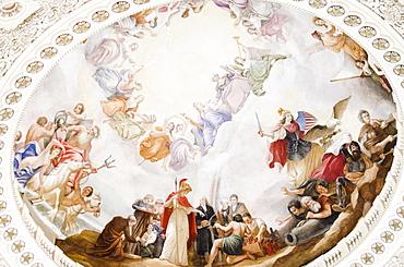 USA, Washington DC, Capitol Building, Close up of fresco on ceiling