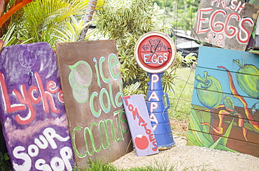 Handmade banners on farm, USA, Hawaii, Kauai
