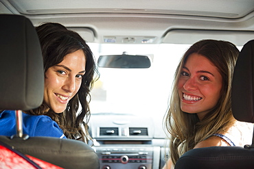 Two young women in car