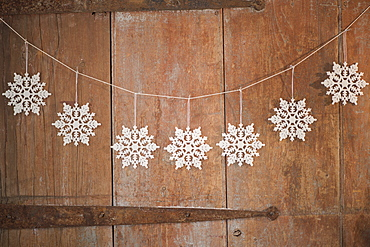 Christmas ornaments on door