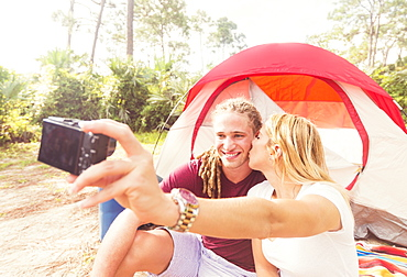 Couple taking selfie, Tequesta, Florida