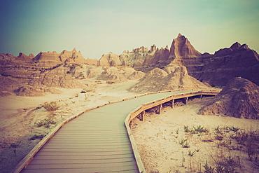 Boardwalk through the desert, USA, South Dakota, Badlands National Park
