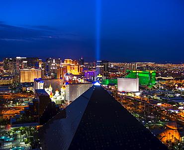 Nevada, Las Vegas, View of city at night, Las Vegas, Nevada