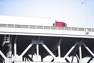 Low angle view of truck on bridge