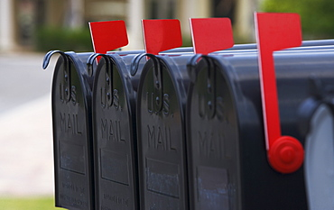 Close up of mailboxes