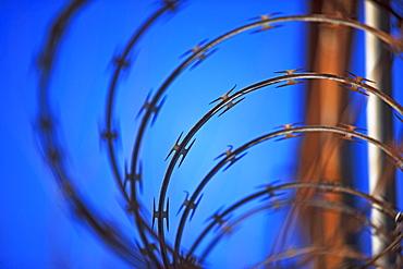 Close up of coiled razor wire