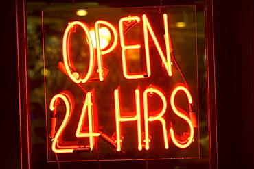 Neon Open sign in window