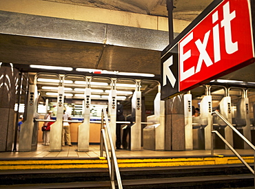 exit sign in New York City subway station