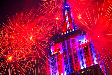 Empire state building with firework display, New York City, New York