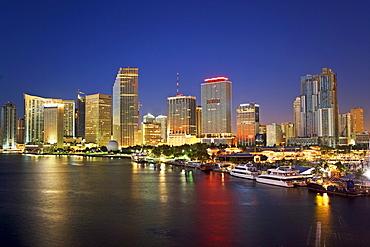 Miami city skyline at night, Dade County, Florida, United States