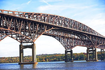 Arch bridge spanning Hudson River, Newburgh, New York